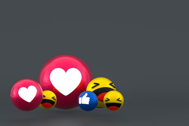 Facebook реакции смайликов 3d визуализации, символ воздушного шара в социальных сетях на сером