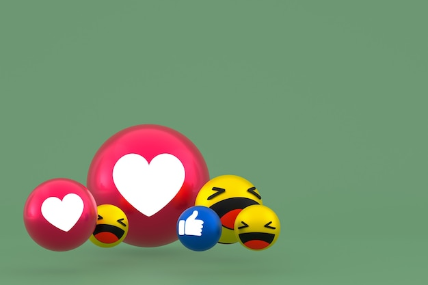 Facebook реакции смайликов 3d визуализации, символ воздушного шара в социальных сетях на зеленом фоне