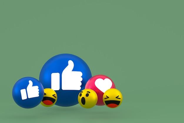Facebook реакции смайликов 3d визуализации, символ воздушного шара в социальных сетях на зеленом