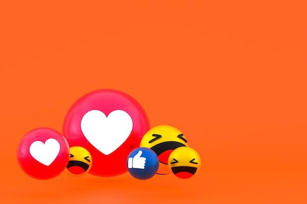 Facebook реакции смайликов 3d визуализации, символ воздушного шара в социальных сетях на оранжевом фоне