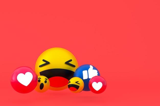 Facebook реакции смайликов 3d визуализации, символ воздушного шара в социальных сетях на красном