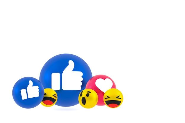 Facebook реакции смайликов 3d визуализации, символ воздушного шара в социальных сетях на белом
