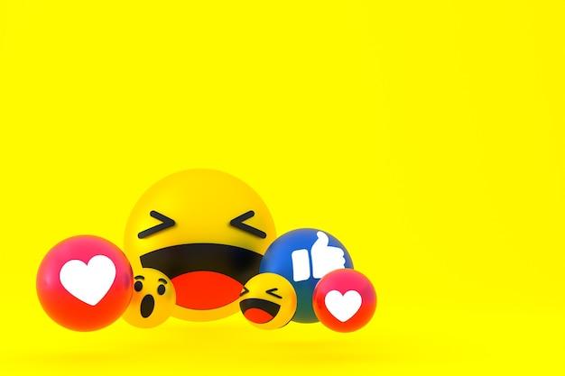 Facebook реакции смайликов 3d визуализации, символ воздушного шара в социальных сетях на желтом