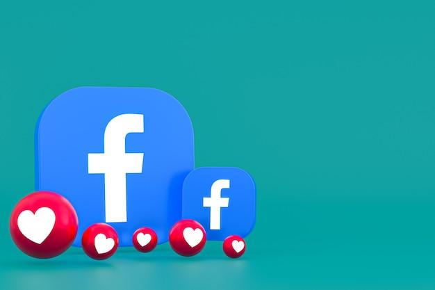 Facebook реакции смайликов 3d-рендеринга, символ воздушного шара в социальных сетях с рисунком значков facebook