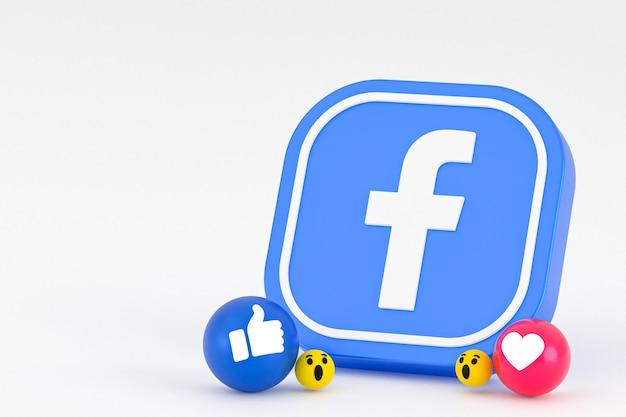 Facebookの反応絵文字3dレンダリング、ソーシャルメディアシンボル