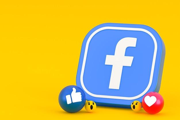 Рендеринг смайликов реакции facebook, символ воздушного шара социальных сетей с рисунком значков facebook