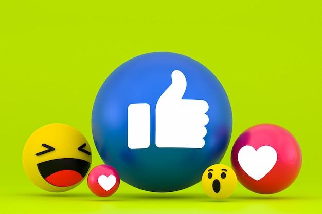 Смайлики реакции facebook, символ воздушного шара социальных сетей с рисунком значков facebook