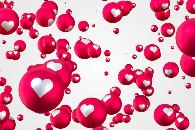 Facebook反応ハート絵文字3 dレンダリングプレミアム写真、ソーシャルメディアのバルーンシンボルの心、幸せなバレンタインの日カード