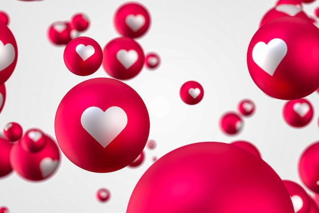 Facebook reactions heart emoji 3d render premium photo,social media balloon symbol with heart,happy valentines day card