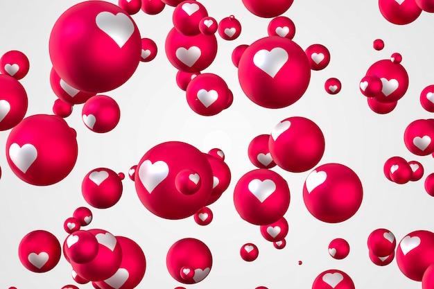 Facebook реакция сердца смайликов 3d визуализации, символ социальных медиа шар с сердцем