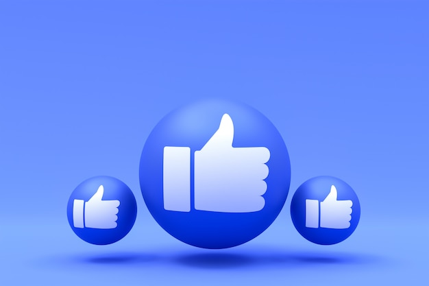Facebook reactions like emoji 3d render,social media balloon symbol with facebook symbols