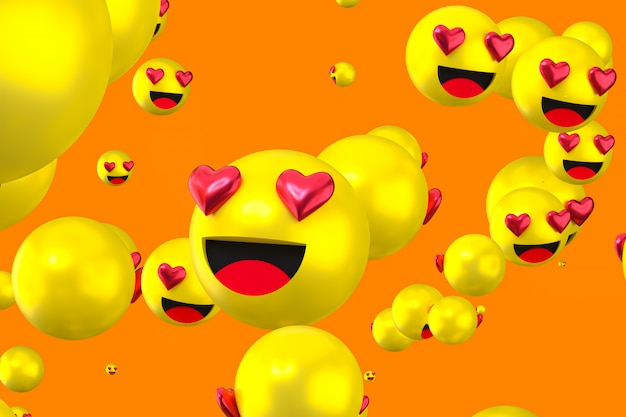 Facebook reactions love emoji 3d render, social media balloon symbol with like