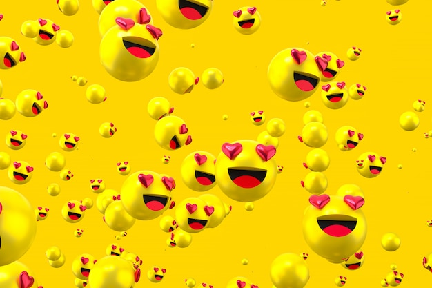 Facebook reactions love emoji 3d render on transparent background