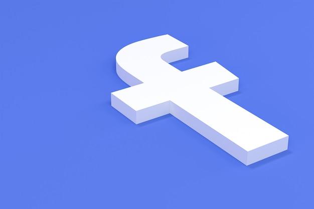 Facebook social media logo set in 3d rendering
