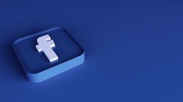 Facebook square button icon 3d with copy space. 3d rendering