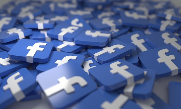 Facebook stacked 3d isometric logos background  social network media symbol