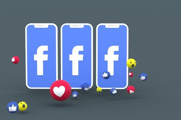 Символ facebook на экране смартфона или мобильного телефона и реакции facebook любовь, вау, как смайликов 3d визуализации