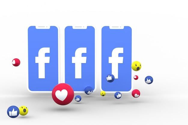画面上のスマートフォンまたはモバイルのfacebookシンボルとfacebookの反応は、絵文字3dレンダリングのように大好きです。