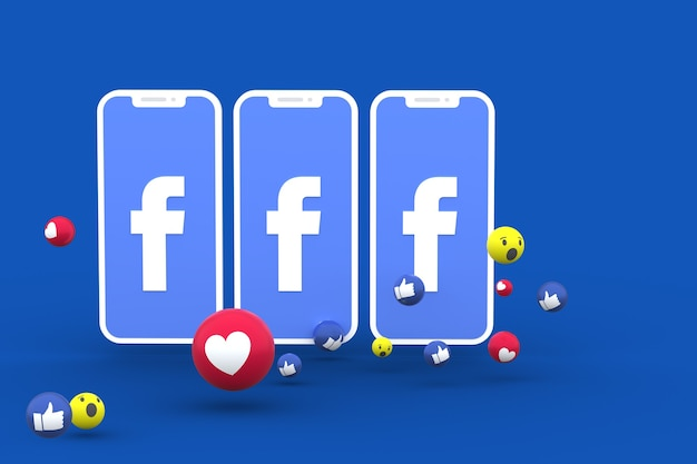 Символ facebook на экране смартфона или мобильного телефона и реакции facebook