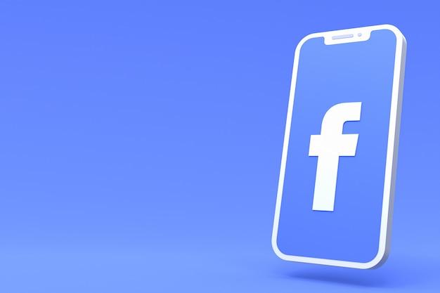 Символ facebook на экране смартфона