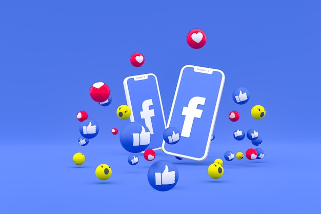 Facebook symbol on screen smartphone or mobile and facebook reactions love, wow, like emoji 3d render