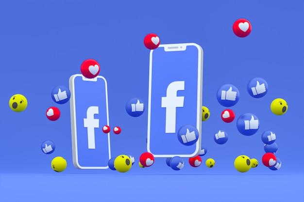 Facebook symbol on screen smartphone or mobile and facebook reactions love, wow, like emoji 3d render