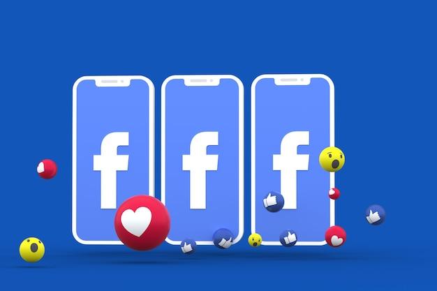 Facebook symbol on screen smartphone or mobile and facebook reactions love,wow,like emoji 3d render