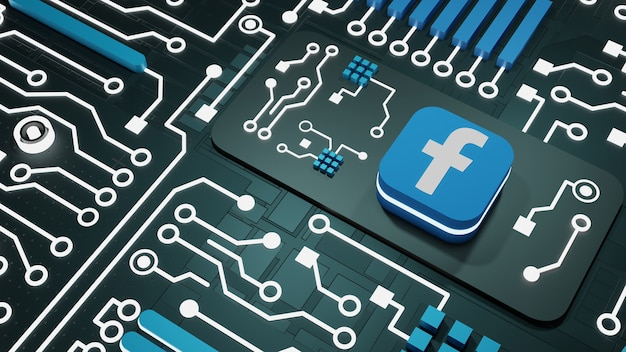 Facebooksocial media with neon light circuits background