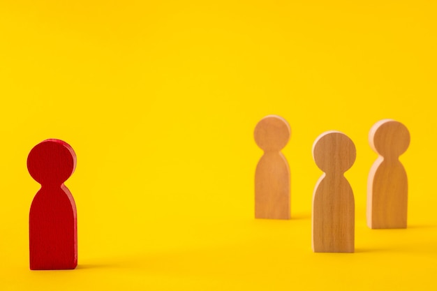 Faceless figures of people starting career project gathering community