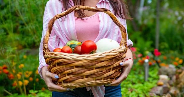 顔のない幸せな笑顔の女性農夫は彼女の庭から野菜のバスケットを持っています