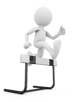 Безликий человек прыгает через барьер.