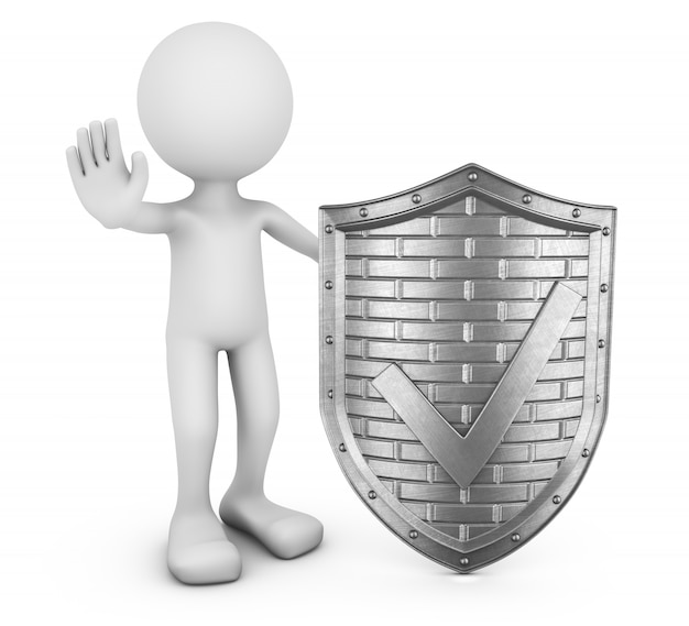 Faceless man and metal shield with a check mark. 3d visualization