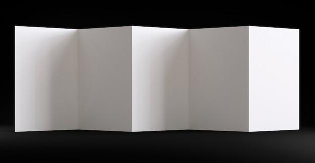 折りたたまれた透明な紙の空白のチラシモックアップポリグラフテンプレート製品の視覚化シーンのファセット