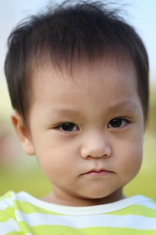 Facial features of asian children,cuteness of childhood.