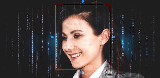 Технология распознавания лиц сканирует и обнаруживает лица людей для идентификации