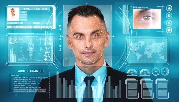 얼굴 인식 기술은 식별을 위해 사람의 얼굴을 스캔하고 감지합니다.