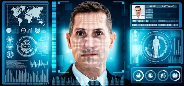 Facial recognition technology scan and detect people face for identification