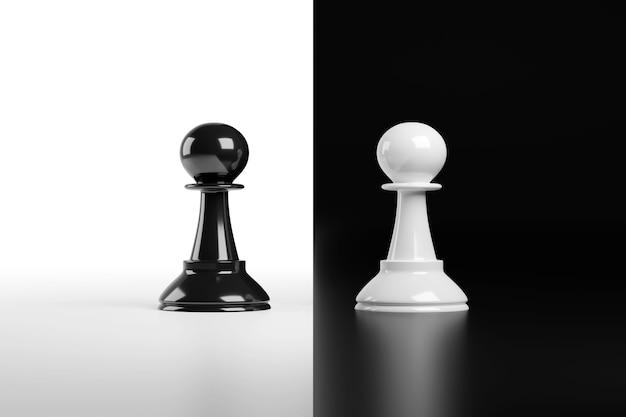 黒と白で分離されたチェスのポーンに直面しています。