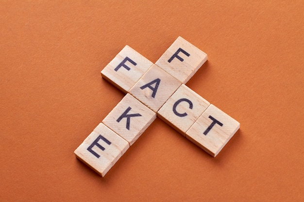 Fact and fake word phrase by letters block. alphabet cubes with letters isolated on orange background.