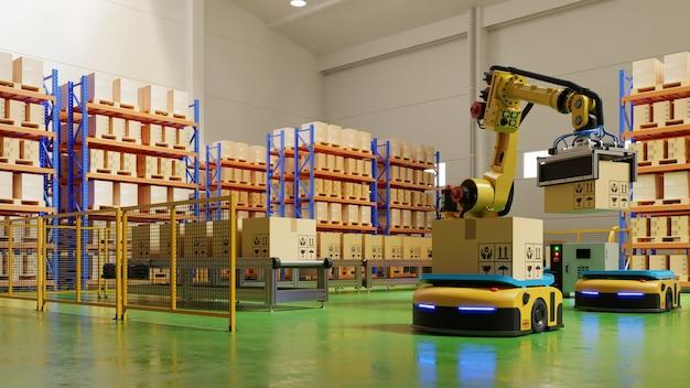 安全で輸送を増やすための輸送におけるagvおよびロボットアームを備えたファクトリオートメーション。