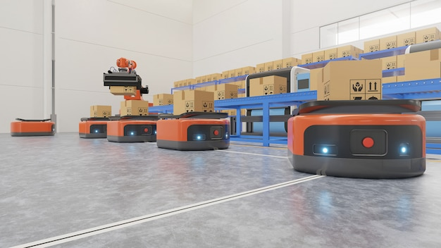 Factory automation with agv and robotic arm in transportationto increase transport more with safety.