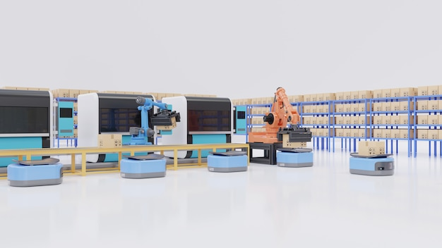 Factory automation with agvs, 3d printers and robotic arm.