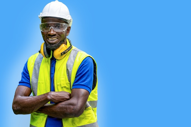 Factory engineer african man standing confidence concept of smart industry worker operating
