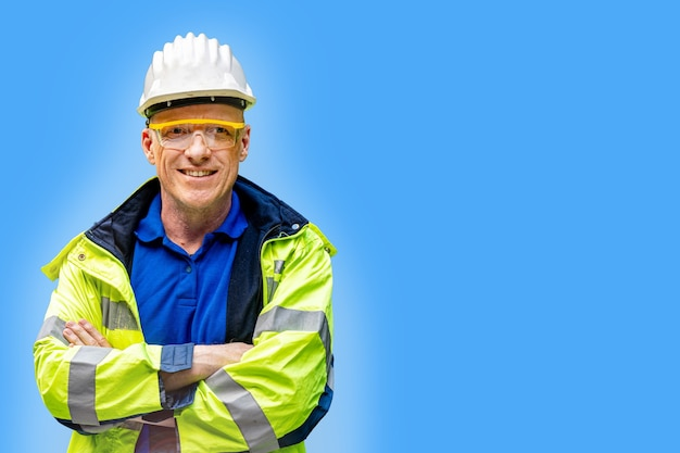 Factory engineer senior man standing confidence concept of smart industry worker operating