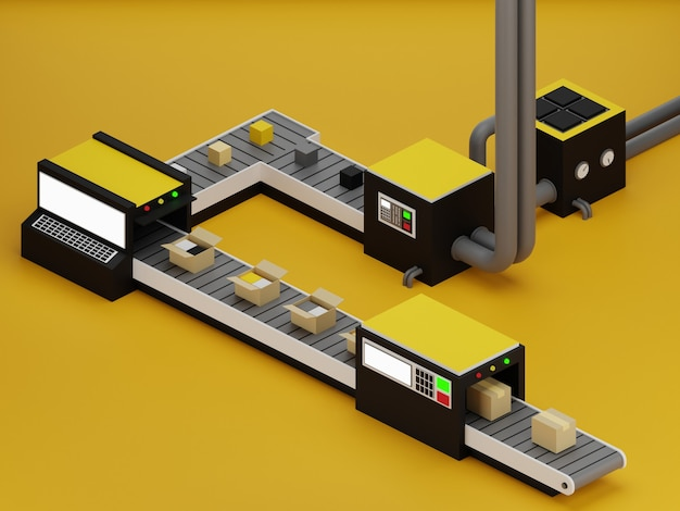 Factory illustration with yellow background in 3d design