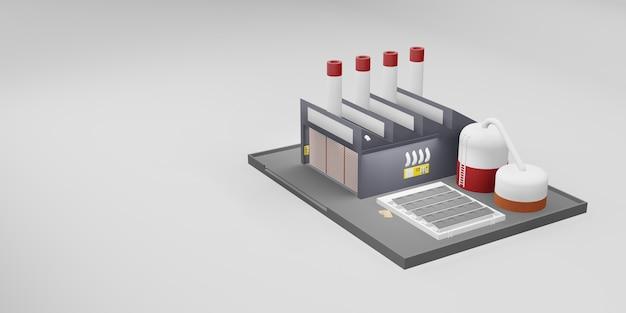 Завод промышленное здание промышленный дизайн 3d иллюстрации