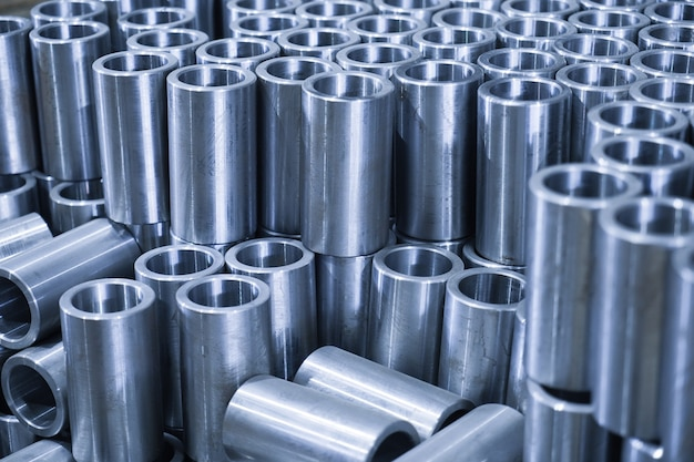 Factory for the manufacture of metal parts, pipes, spares close up