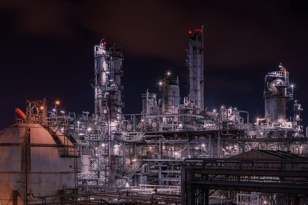 Factory of petroleum industrial plant  at night