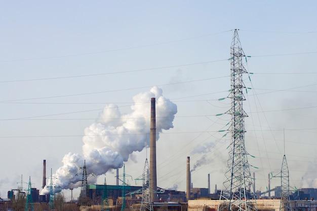 Factory plant generating smoke