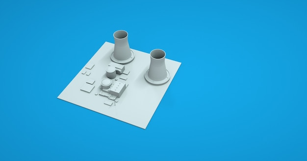 Factory and plant in set collection for design, monochrome elements on a blue background. 3d illustrations, construction of a engineering site.